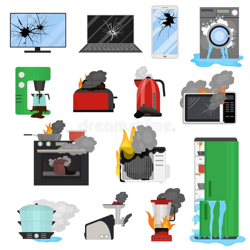 Cartoon Color Broken Appliance Icon Set. Vector. Cartoon Color Broken Appliance Icon Set Include of Laptop, Refrigerator, Microwave. Vector illustration of Home royalty free illustration