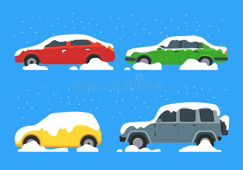 Cartoon Color Cars Covered Snow Icon Set. Vector royalty free illustration
