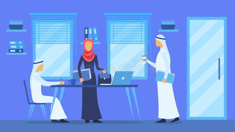 Cartoon Color Characters People and Arabic Business Concept. Vector vector illustration