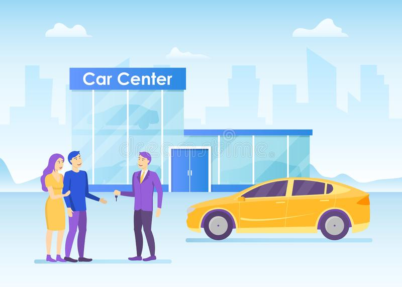 Cartoon Color Characters People Couple Buying Car Concept. Vector vector illustration