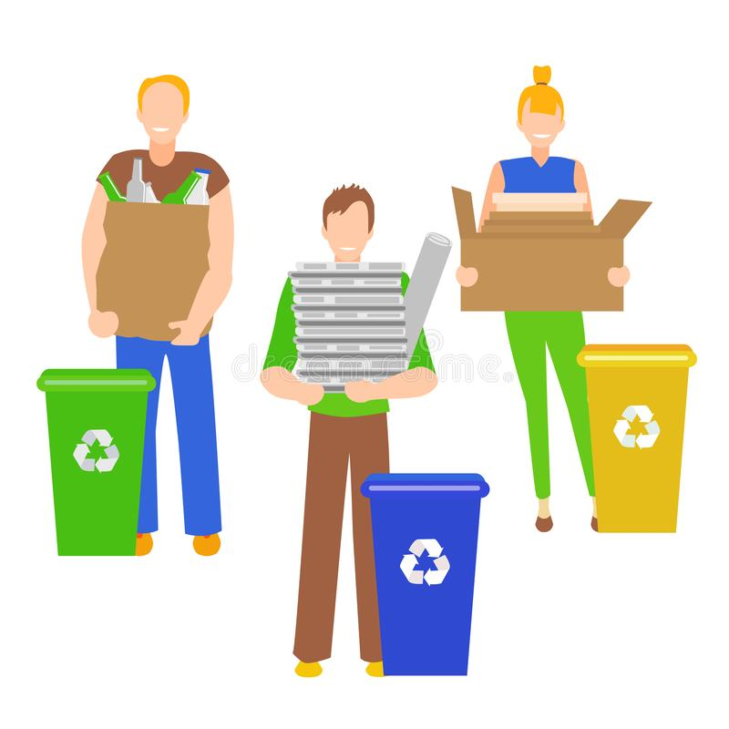 Cartoon Color Characters People Holding Recyclables. Vector vector illustration