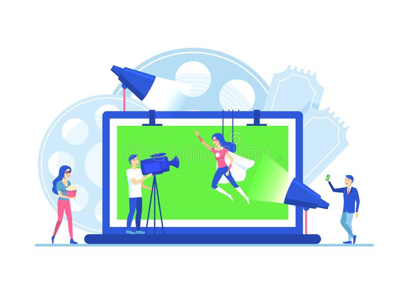 Cartoon Color Characters People Making Movie Video Production Concept. Vector. Cartoon Color Characters People Making Movie Video Production Concept Flat Design royalty free illustration