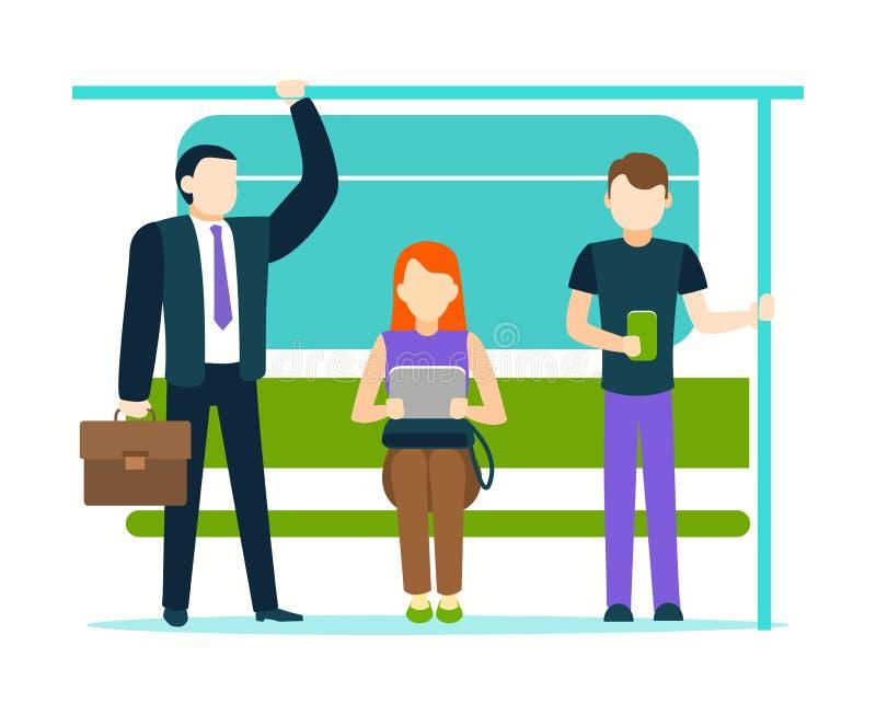 Cartoon Color Characters People Passengers Inside Public Transport. Vector vector illustration