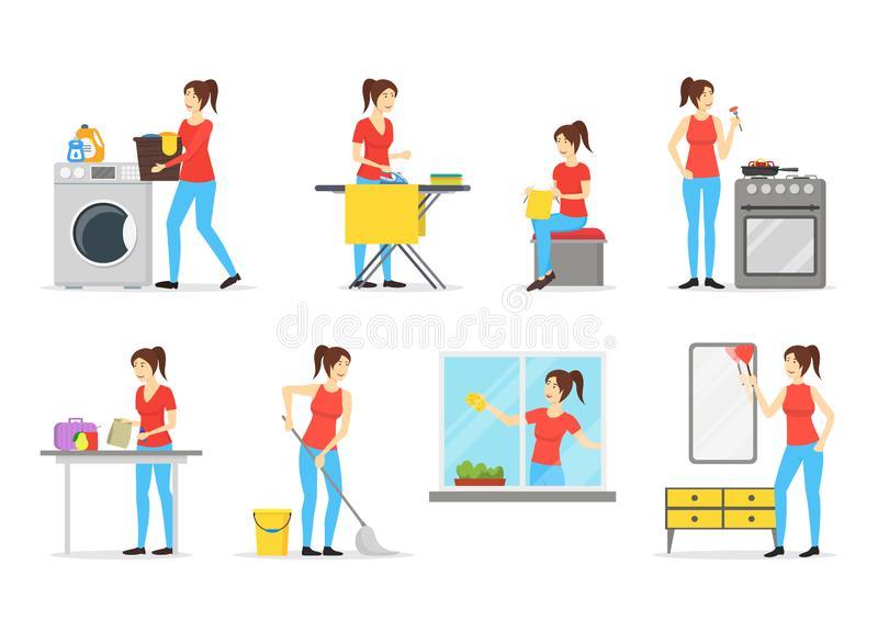 Cartoon Color Characters Woman Housewife Set. Vector stock illustration