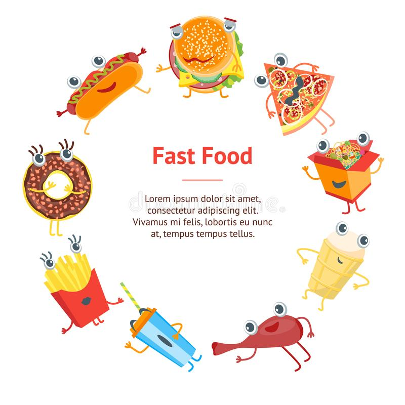 Cartoon Color Fast Food Characters Banner Card Circle. Vector. Cartoon Color Fast Food Characters Banner Card Circle Comic Expression Emotion Cute Snack for Menu stock illustration