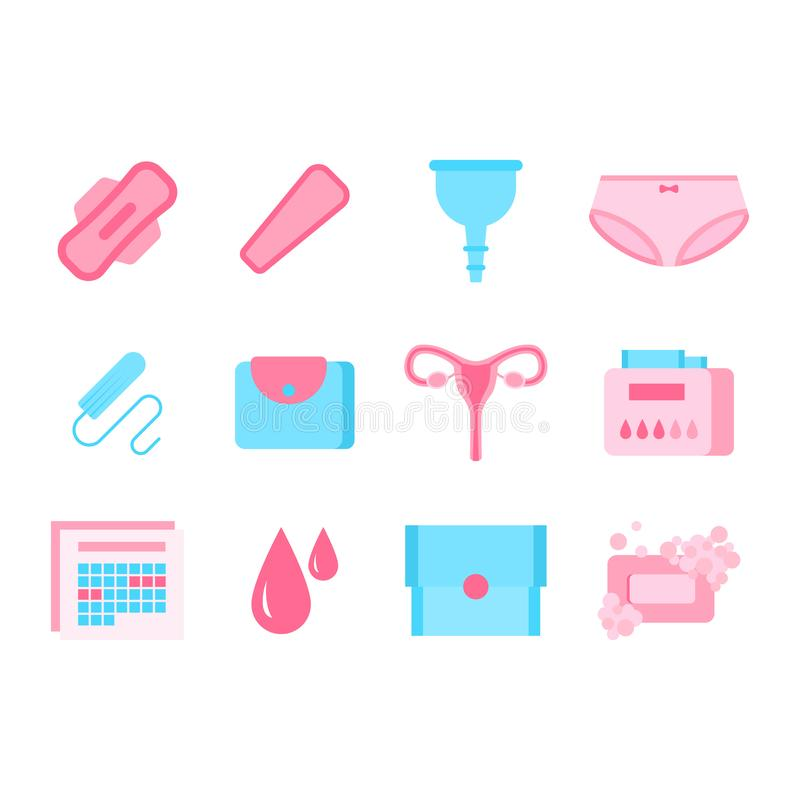 Cartoon Color Feminine Hygiene Products Icon Set. Vector. Cartoon Color Feminine Hygiene Products Icon Set Include of Tampon, Sanitary Napkin, Cup and Calendar stock illustration