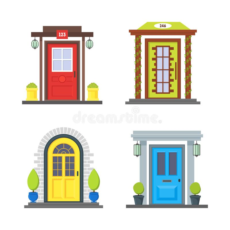 Cartoon Color Front Door of House Icon Set. Vector stock illustration