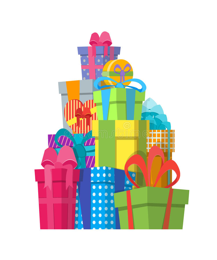 Cartoon Color Gift Boxes Pile. Vector vector illustration