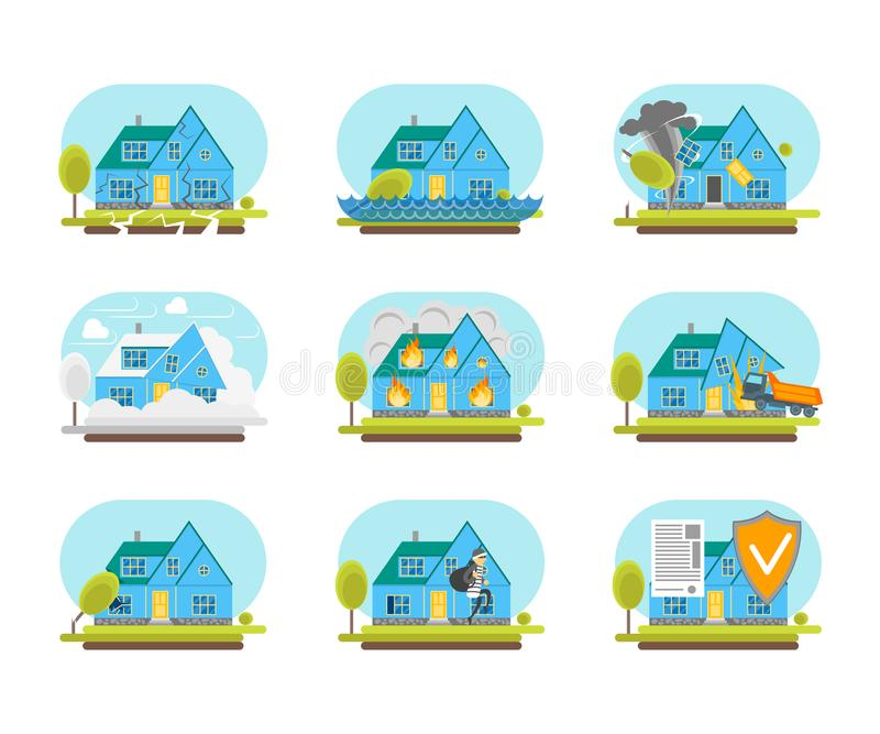 Cartoon Color House Insurance Service Icons Set. Vector stock illustration