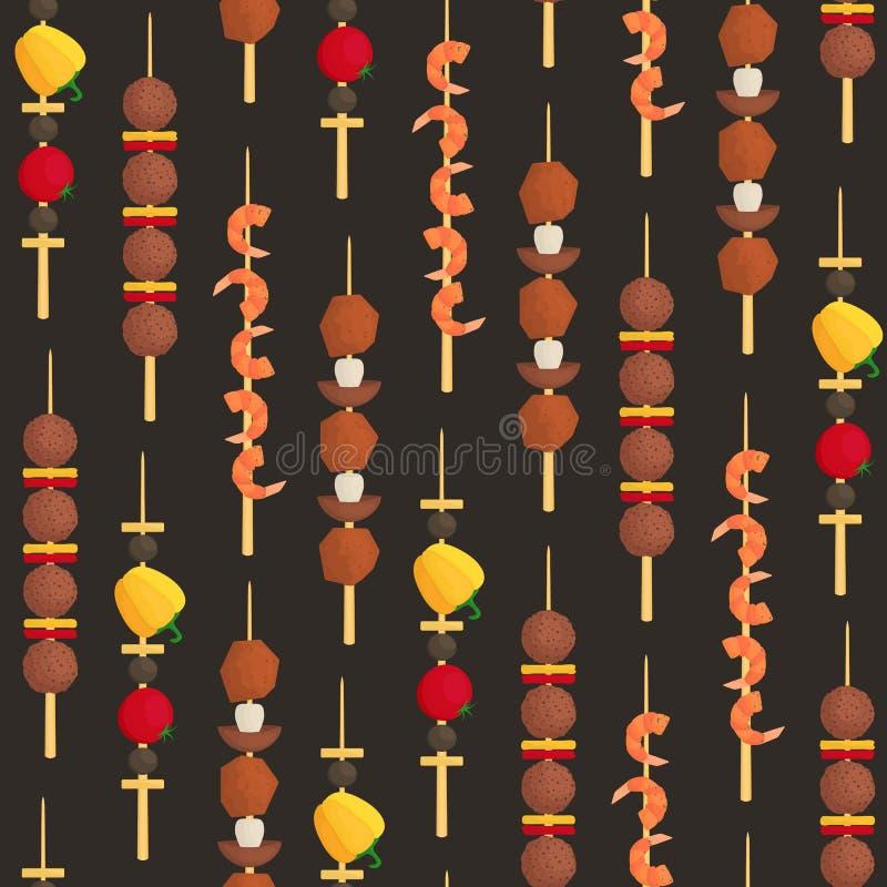 Cartoon Color Kebab on Wooden Skewers Seamless Pattern Background. Vector stock illustration
