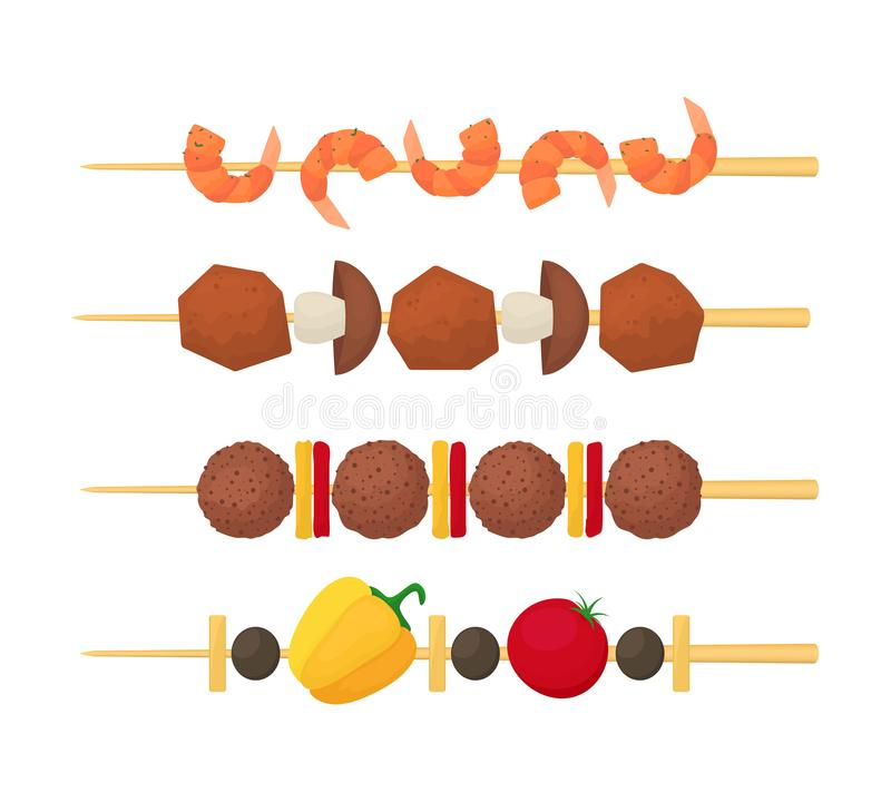Cartoon Color Kebab on Wooden Skewers Set. Vector royalty free illustration
