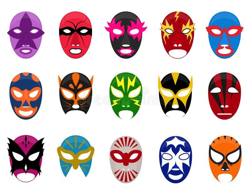 Cartoon Color Mexican Wrestling Mask Icon Set. Vector. Cartoon Color Mexican Wrestling Mask Icon Set Sport Entertainment Concept Flat Design. Vector illustration royalty free illustration