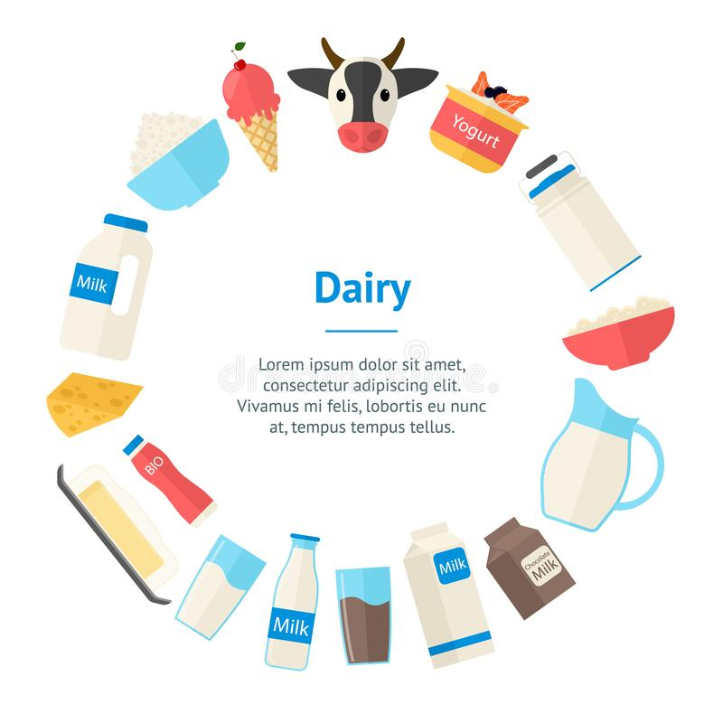 Cartoon Color Milk Products Banner Card Circle. Vector. Cartoon Color Milk Products Banner Card Circle Dairy Concept Flat Design Style Include of Bottle, Yogurt vector illustration