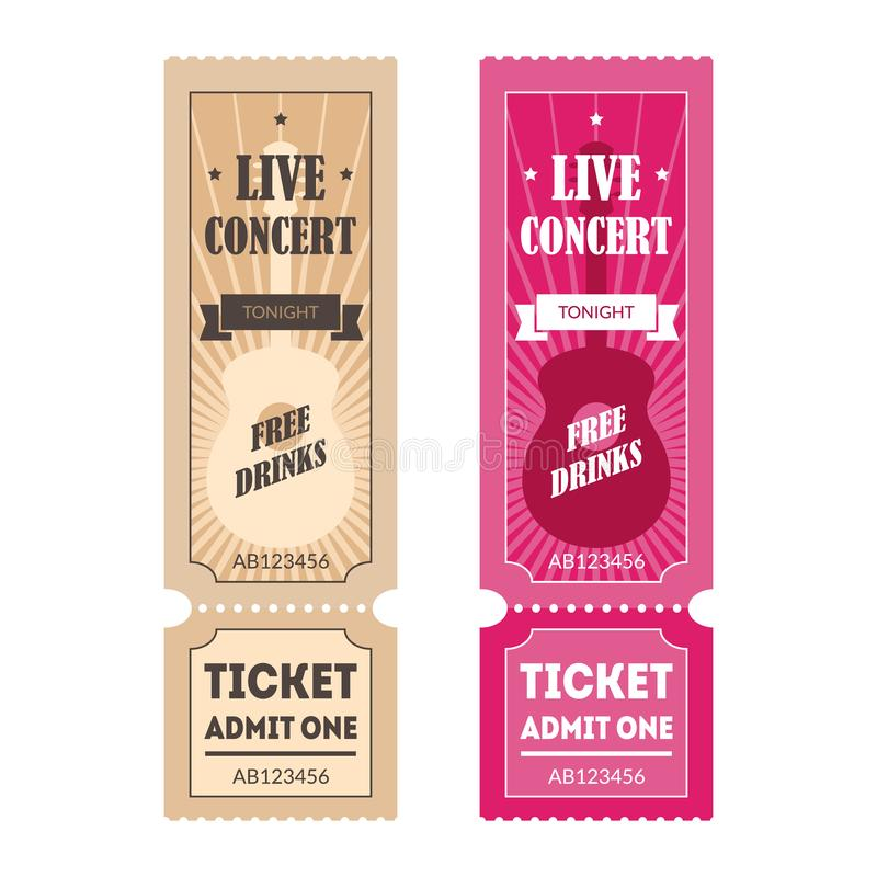 Cartoon Color Mockup Template Tickets Set. Vector stock illustration