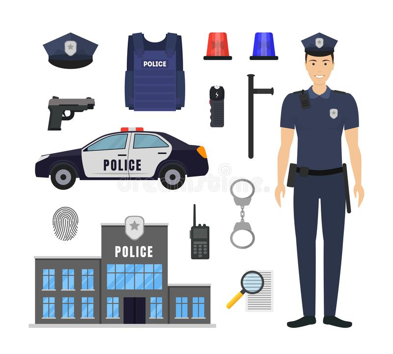 Cartoon Color Policeman and Police Elements Icon Set. Vector. Cartoon Color Policeman and Police Elements Icon Set Include of Car, Hat, Handcuff and Gun. Vector royalty free illustration