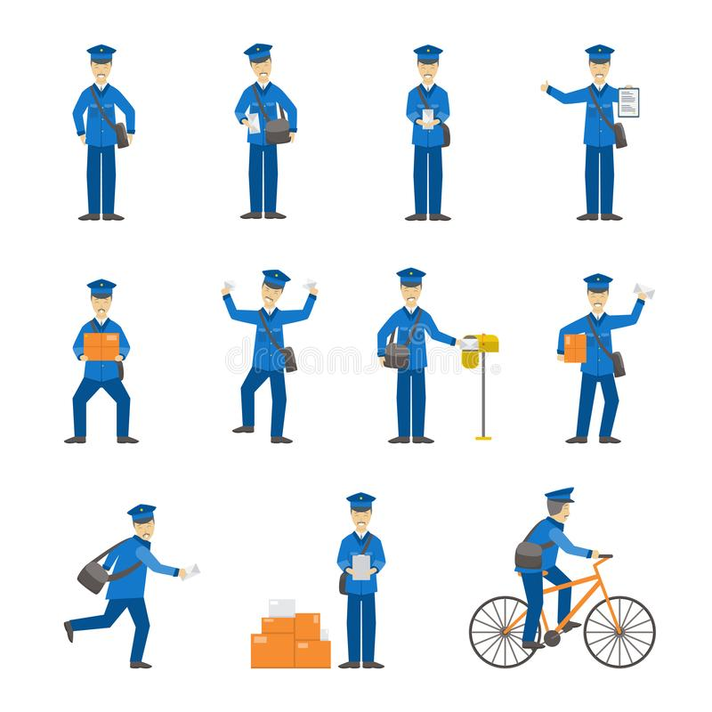 Cartoon Color Postman Male Characters Set. Vector vector illustration