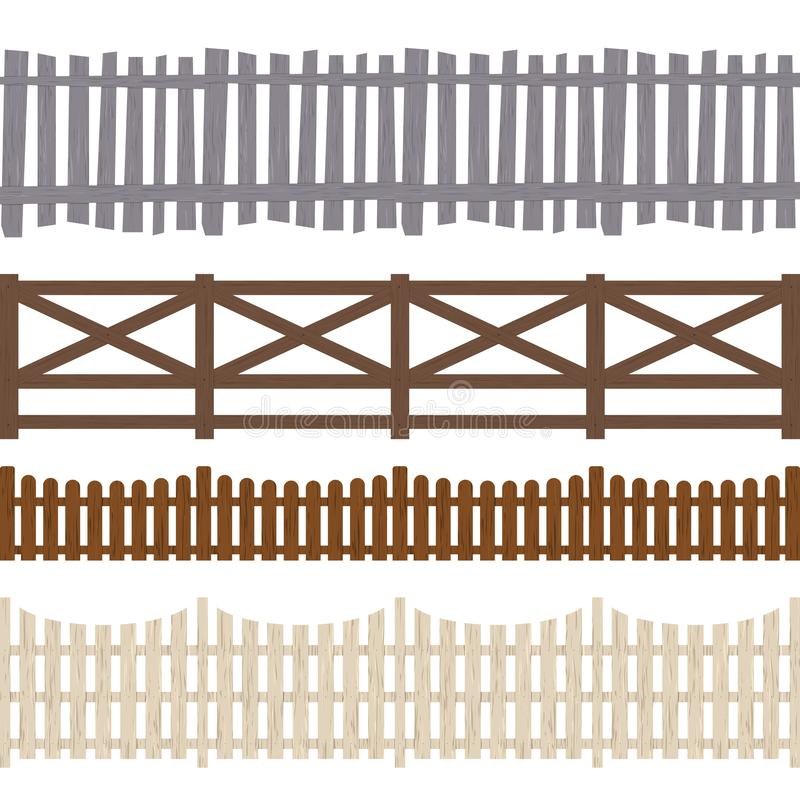 Free Cartoon Color Wooden Fence Seamless Pattern Background. Vector Stock Image - 128923731