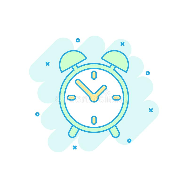 Cartoon colored alarm clock icon in comic style. Timer illustration pictogram. Stopwatch sign splash business concept. royalty free illustration