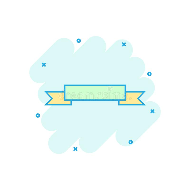 Cartoon colored badge ribbon icon in comic style. Award medal il royalty free illustration
