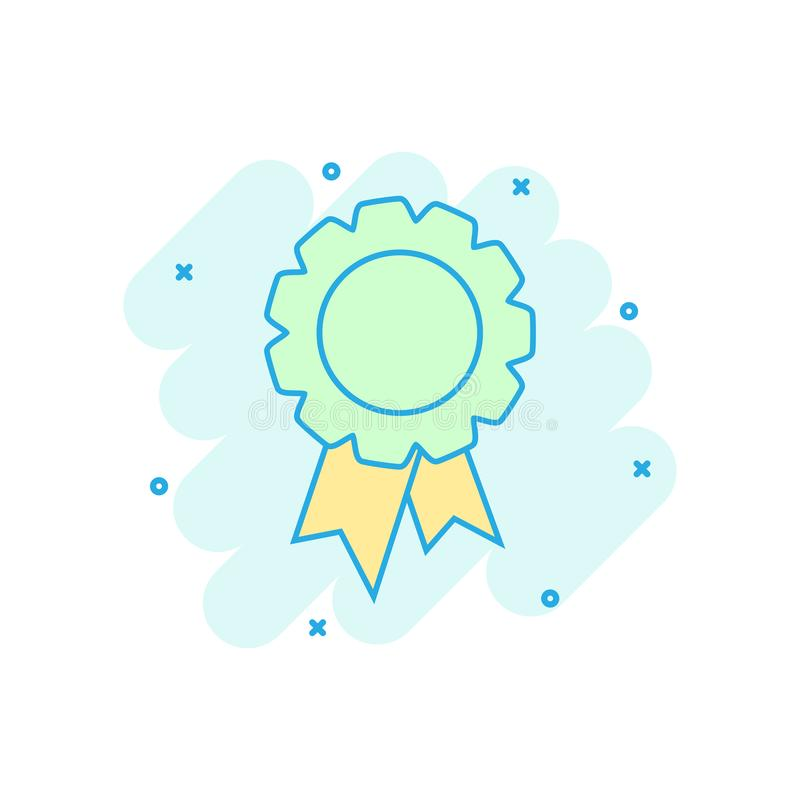 Cartoon colored badge ribbon icon in comic style. Award medal il stock illustration