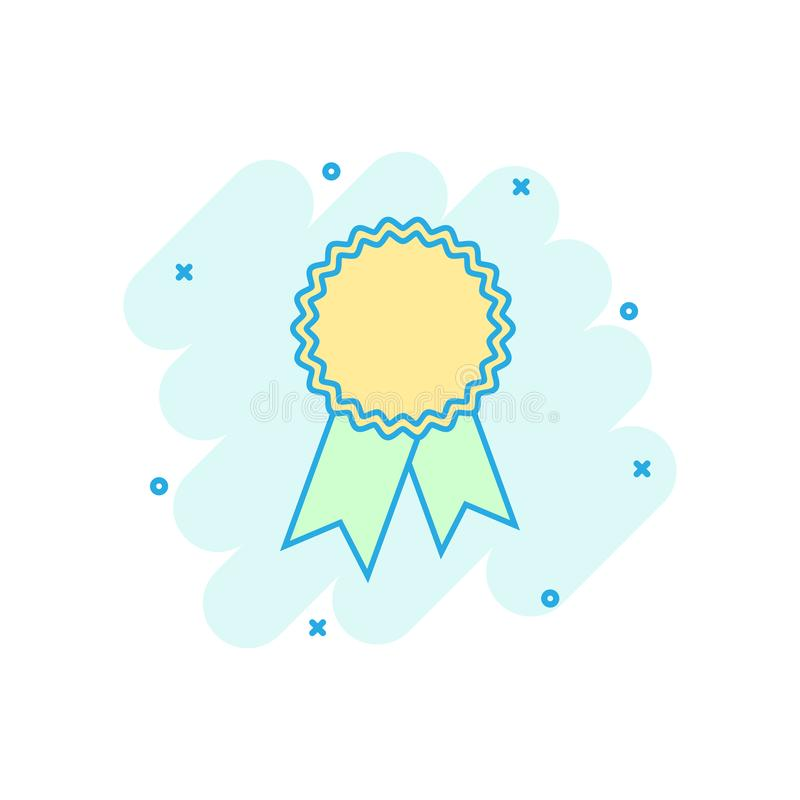 Cartoon colored badge ribbon icon in comic style. Award medal il vector illustration