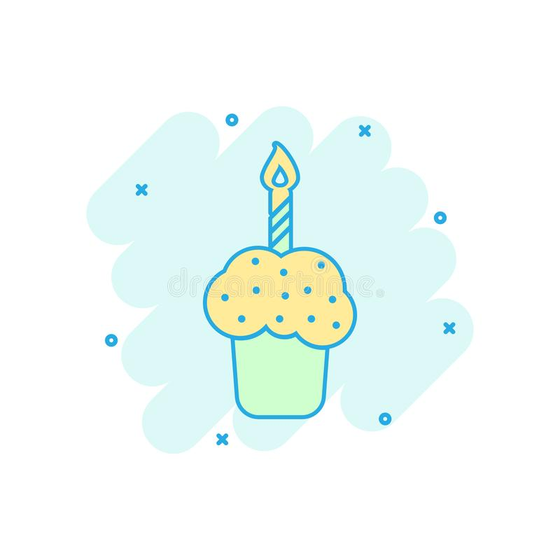 Cartoon colored birthday cake icon in comic style. Fresh pie muffin illustration pictogram. Cake sign splash business concept. vector illustration