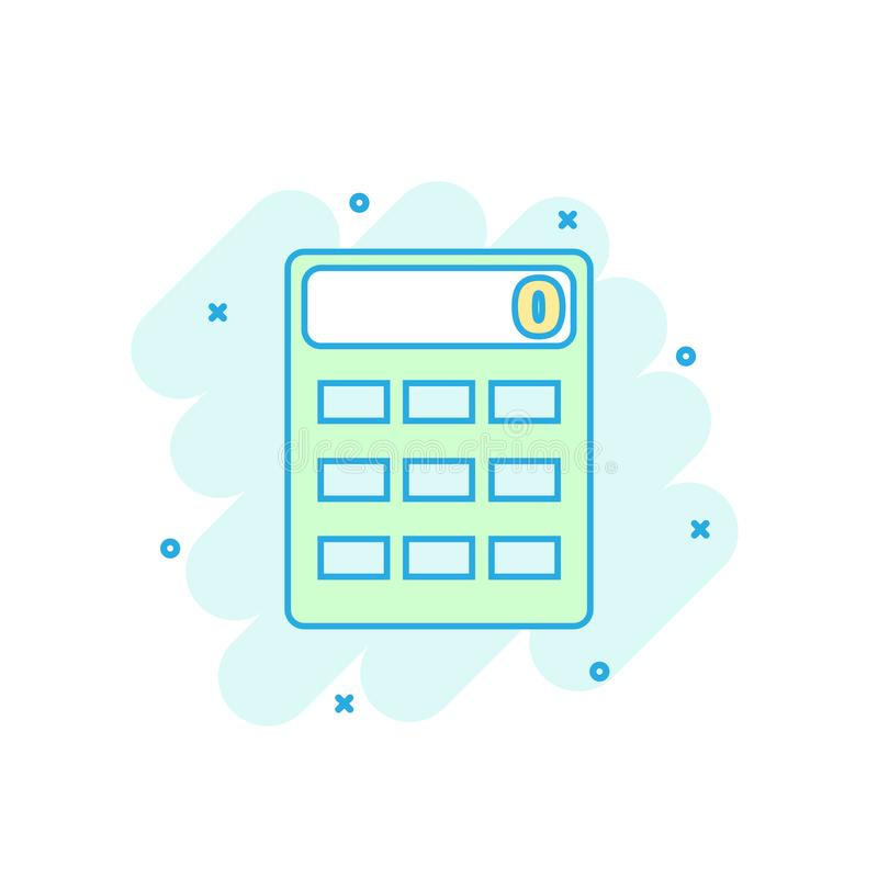 Cartoon colored calculator icon in comic style. Calculate sign i. Llustration pictogram. Calculator splash business concept stock illustration