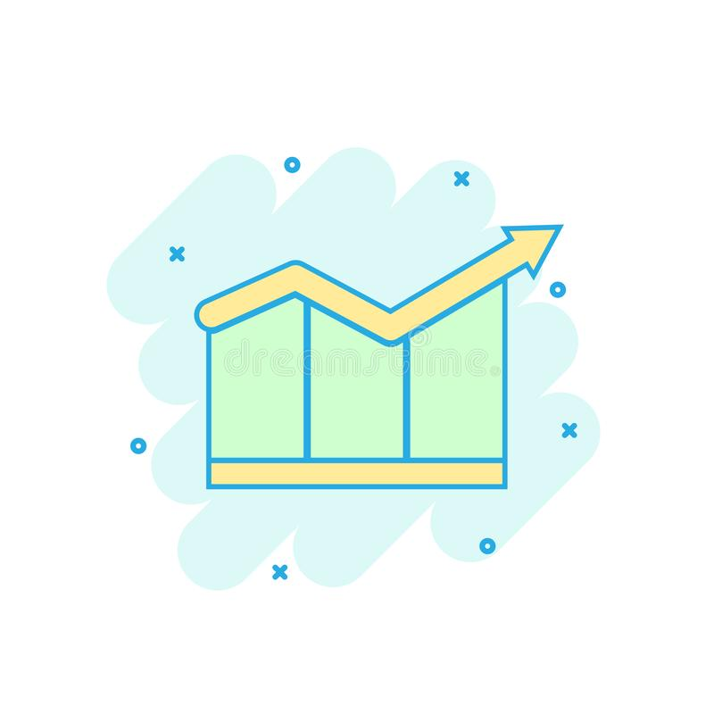 Cartoon colored chart growth icon in comic style. Graph sign ill stock illustration