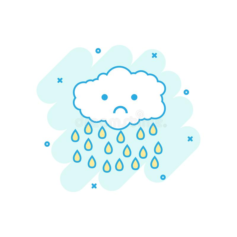 Cartoon colored cloud with rain icon in comic style. Clouds illustration pictogram. Rain sign splash business concept. stock illustration
