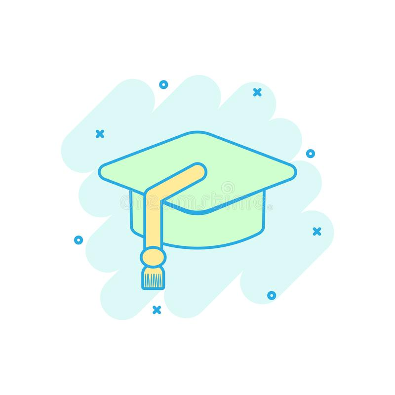 Cartoon colored education hat icon in comic style. Bachelor cap. Illustration pictogram. Education sign splash business concept vector illustration