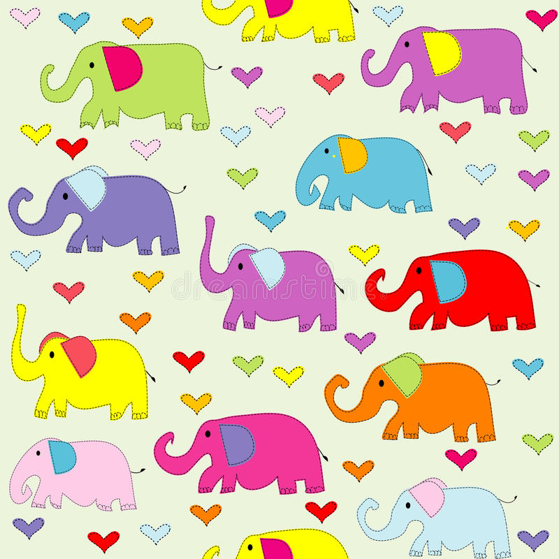 Cartoon colored elephants seamless pattern stock illustration