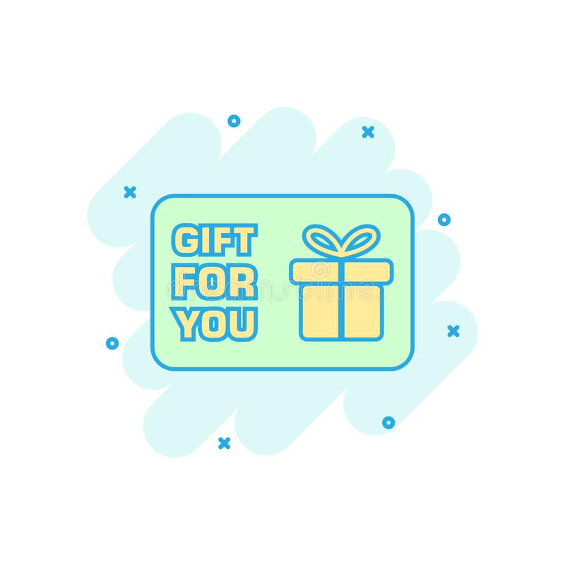 Cartoon colored gift card icon in comic style. Gift voucher pres. Ent illustration pictogram. Discount coupon sign splash business concept stock illustration