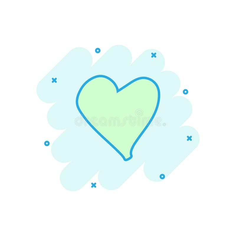 Cartoon colored heart icon in comic style. Love hand drawn illus royalty free illustration