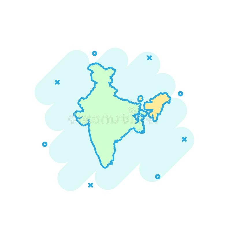 Cartoon colored India map icon in comic style. India sign illustration pictogram. Country geography splash business concept. stock illustration