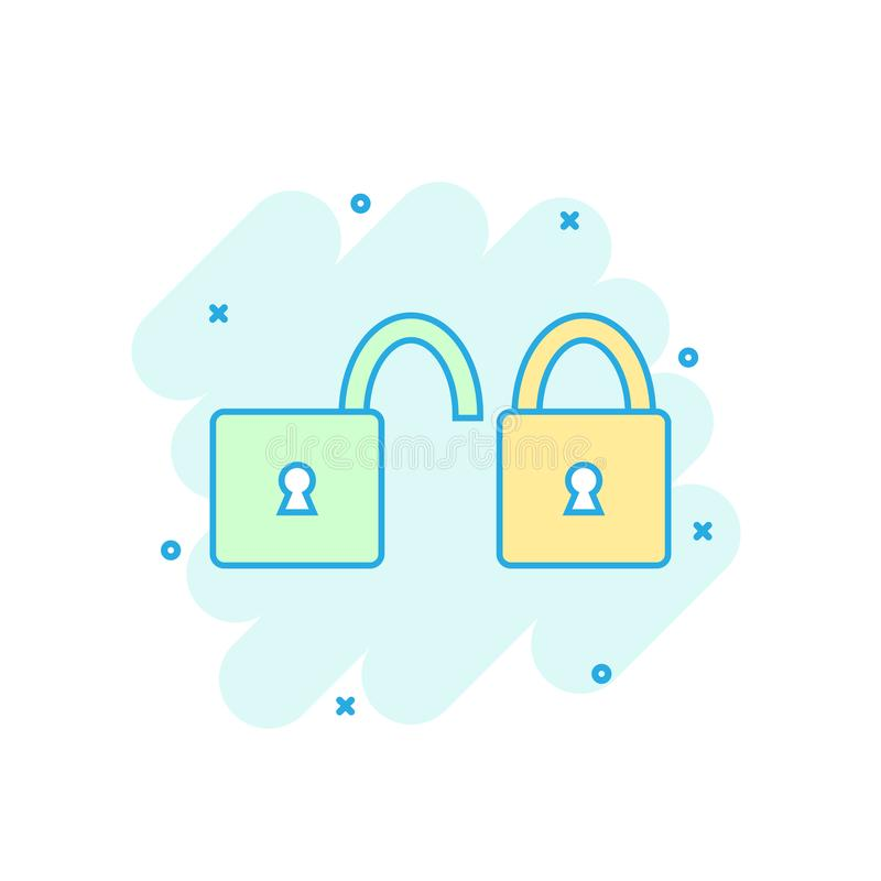 Cartoon colored padlock icon in comic style. Lock, unlock sign i vector illustration