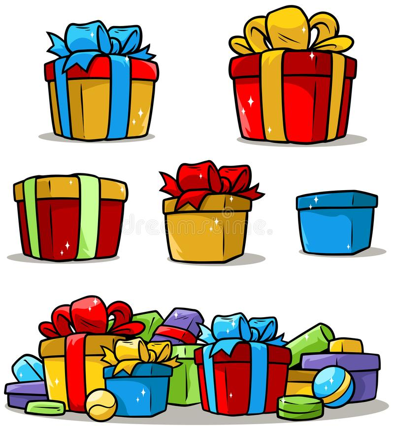 Cartoon colored presents and different gift boxes stock illustration