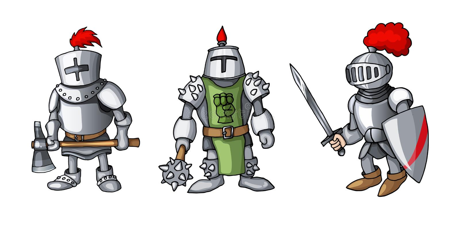 Cartoon colored three medieval knights prepering for Knight Tournament vector illustration