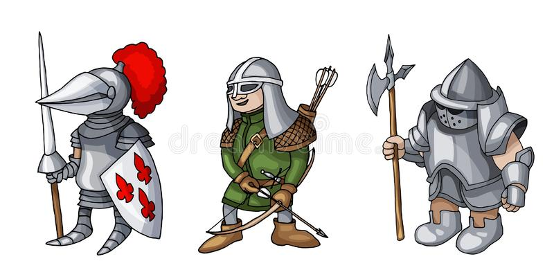 Cartoon colored three medieval knights prepering for Knight Tournament stock illustration