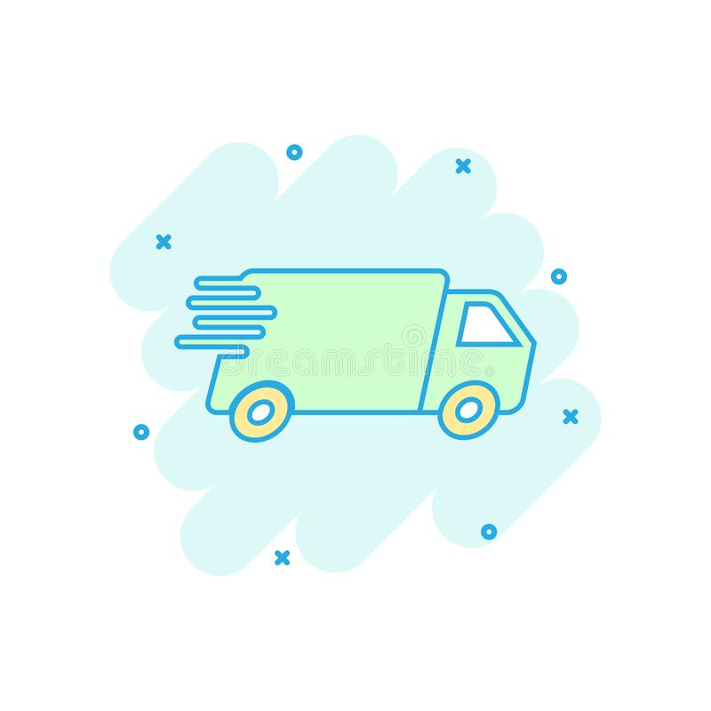 Cartoon colored truck, car icon in comic style. Fast delivery se stock illustration