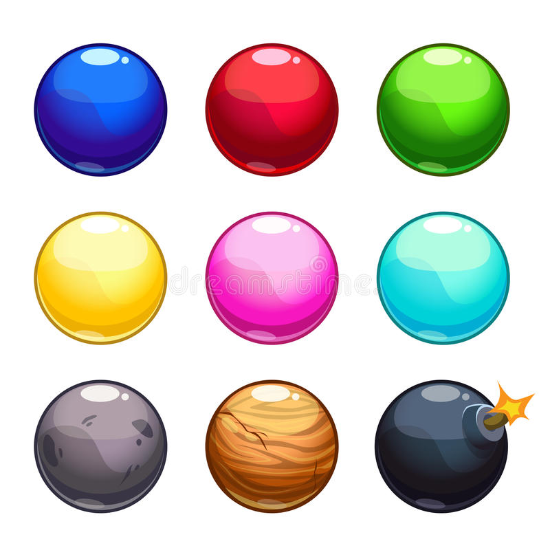 Free Cartoon Colorful Bubbles Balls Set Stock Images - 69030634