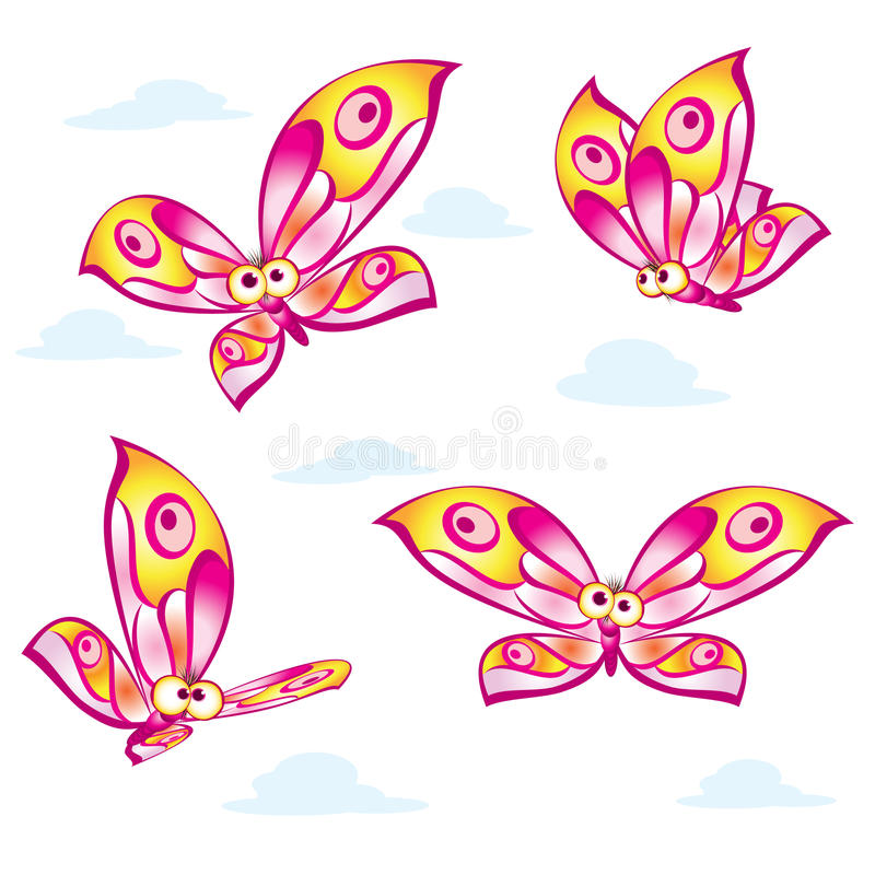 Cartoon Colorful Butterflies Stock Image