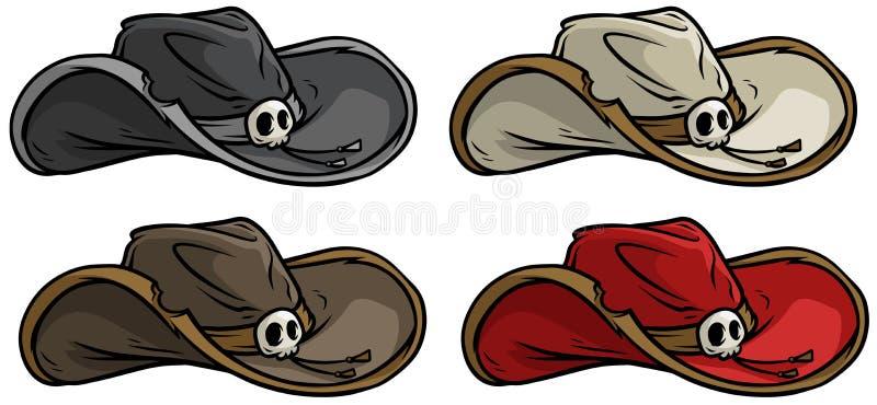 Cartoon cowboy old rerto hat vector icon set. Cartoon colorful cowboy old rerto hat with skull. Vector icon set vector illustration