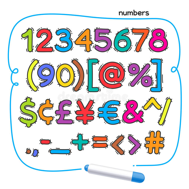 Cartoon Colorful Doodle Numbers royalty free illustration