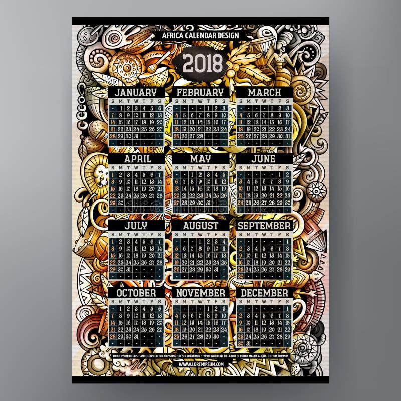 Cartoon colorful hand drawn doodles Africa 2018 year calendar stock illustration