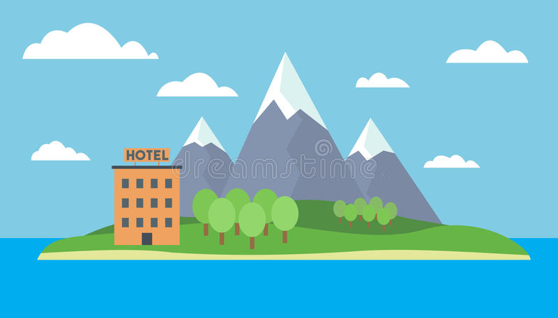 Cartoon colorful illustration of an island at sea with mountains and cartoon colorful illustration of an island at sea with mountains and hill forest and hotel on a sandy beach under blue sky with clouds voltagebd Choice Image