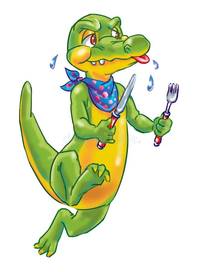 Funny cartoon crocodile chasing someone. Cartoon colorful isolated art of a hungry crocodile stock illustration