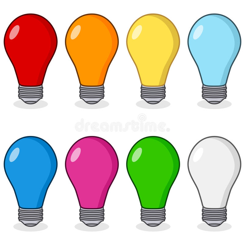 Cartoon Colorful Light Bulbs Collection stock illustration