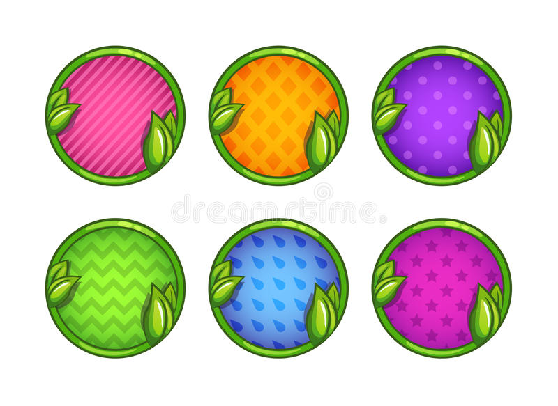 Cartoon colorful round buttons set. For game or web design. Cute bright vector frames, isolated on white background vector illustration