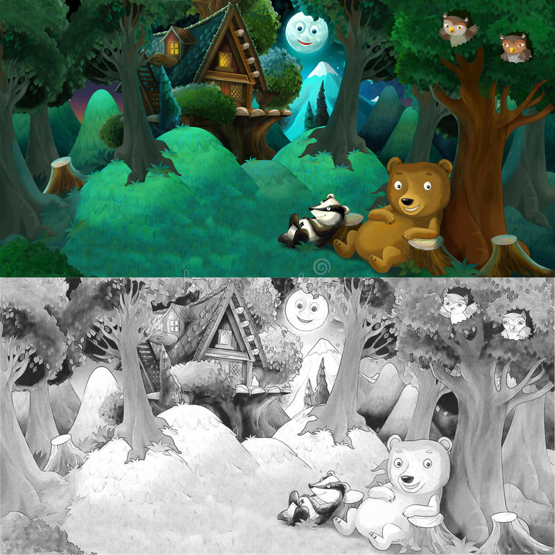 Download Cartoon Colorful Scene With Animal Friends Resting Under The Tree    Bear And Badger