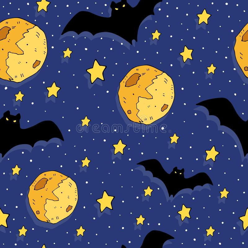 Cartoon colorful seamless festive pattern with bat, moon, decorative elements on a neutral background. vector. Halloween. vector illustration